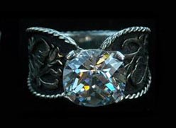 turquoise brand ring western engraved wedding ring - Western Wedding Rings
